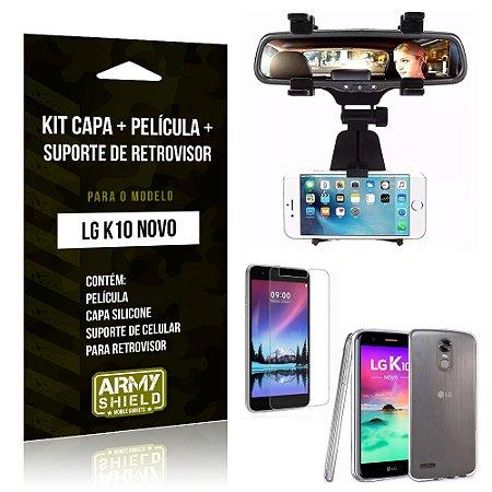 Kit LG K10 Novo Capa Silicone + Película de Vidro + Suporte Retrovisor - Armyshield