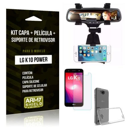 Kit LG K10 Power Capa Silicone + Película de Vidro + Suporte Retrovisor - Armyshield