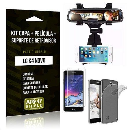 Kit LG K4 Novo Capa Silicone + Película de Vidro + Suporte Retrovisor - Armyshield