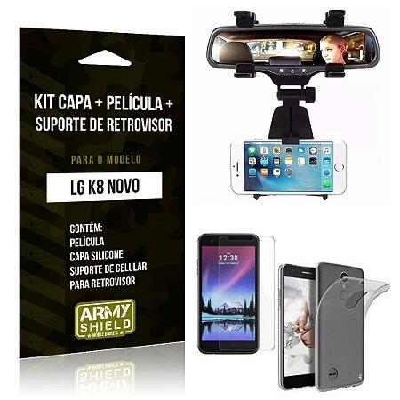 Kit LG K8 Novo Capa Silicone + Película de Vidro + Suporte Retrovisor - Armyshield
