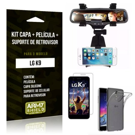 Kit LG K9 Capa Silicone + Película de Vidro + Suporte Retrovisor - Armyshield