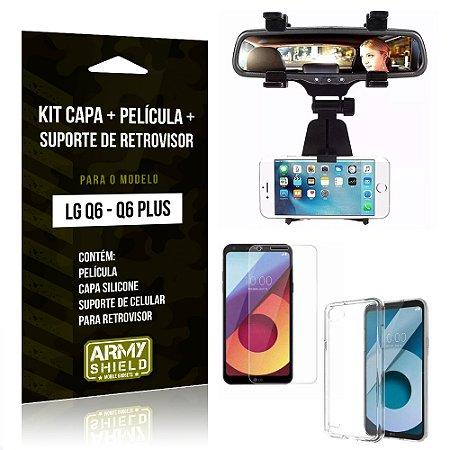 Kit LG Q6 - Q6 Plus Capa Silicone + Película de Vidro + Suporte Retrovisor - Armyshield