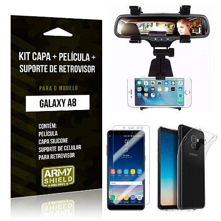 Kit Galaxy A8 Capa Silicone + Película de Vidro + Suporte Retrovisor - Armyshield