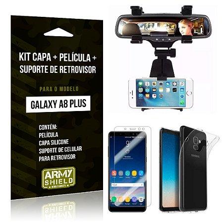Kit Galaxy A8 Plus Capa Silicone + Película de Vidro + Suporte Retrovisor - Armyshield