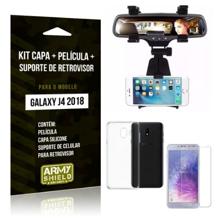 Kit Galaxy J4 (2018) Capa Silicone + Película de Vidro + Suporte Retrovisor - Armyshield