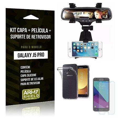 Kit Galaxy J5 Pro 2017 Capa Silicone + Película de Vidro + Suporte Retrovisor - Armyshield