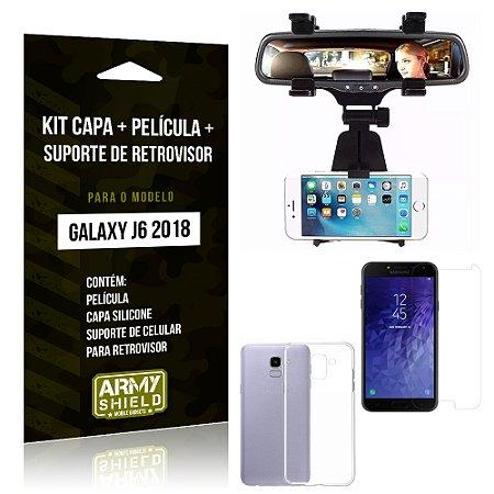 Kit Galaxy J6 (2018) Capa Silicone + Película de Vidro + Suporte Retrovisor - Armyshield