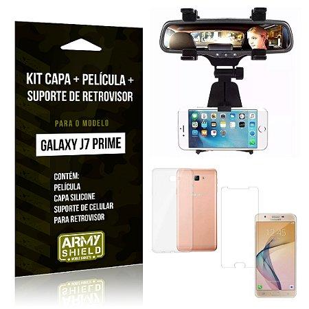 Kit Galaxy J7 Prime Capa Silicone + Película de Vidro + Suporte Retrovisor - Armyshield