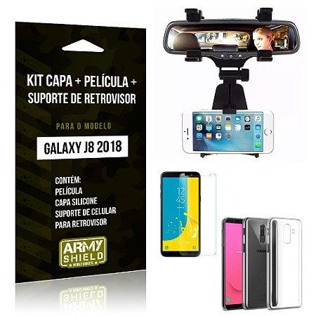 Kit Galaxy J8 (2018) Capa Silicone + Película de Vidro + Suporte Retrovisor - Armyshield