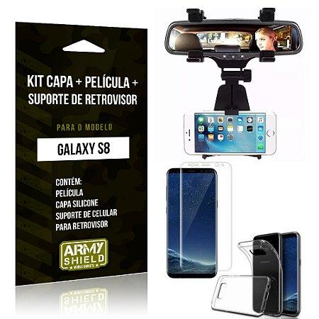 Kit Galaxy S8 Capa Silicone + Película de Vidro + Suporte Retrovisor - Armyshield