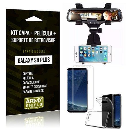 Kit Galaxy S8 Plus Capa Silicone + Película de Vidro + Suporte Retrovisor - Armyshield