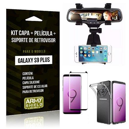 Kit Galaxy S9 Plus Capa Silicone + Película de Vidro + Suporte Retrovisor - Armyshield