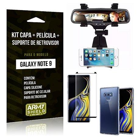 Kit Galaxy Note 9 Capa Silicone + Película de Vidro + Suporte Retrovisor - Armyshield
