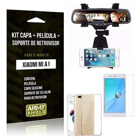 Kit Xiaomi Mi A1 Capa Silicone + Película de Vidro + Suporte Retrovisor - Armyshield