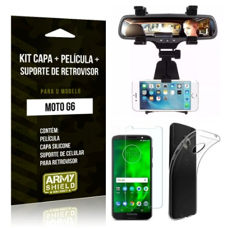 Kit Moto G6 Capa Silicone + Película de Vidro + Suporte Retrovisor - Armyshield