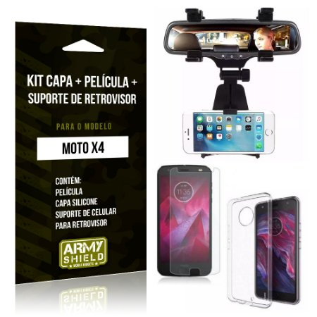 Kit Moto X4 Capa Silicone + Película de Vidro + Suporte Retrovisor - Armyshield