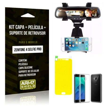 Kit Zenfone 4 Selfie Pro 5.2' ZD552KL Capa Silicone + Película Gel + Suporte Retrovisor - Armyshield