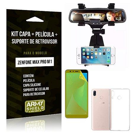 Kit Zenfone Max Pro M1 ZB602KL Capa Silicone + Película Gel + Suporte Retrovisor - Armyshield