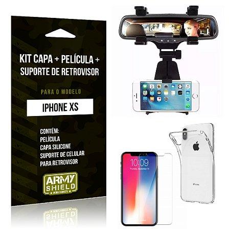 Kit iPhone XS Capa Silicone + Película de Vidro + Suporte Retrovisor - Armyshield
