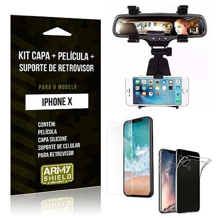 Kit iPhone X Capa Silicone + Película de Vidro + Suporte Retrovisor - Armyshield