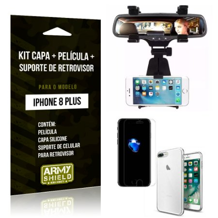 Kit iPhone 8 Plus Capa Silicone + Película de Vidro + Suporte Retrovisor - Armyshield