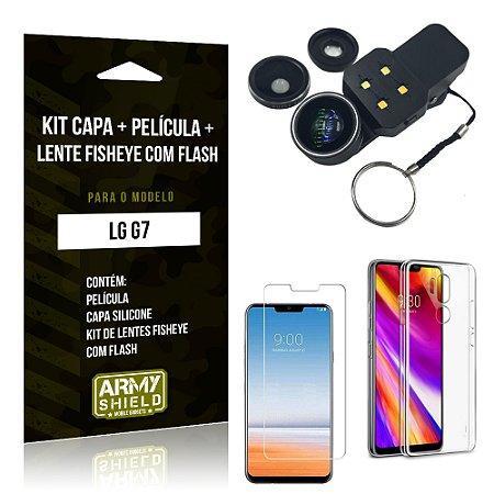 Kit LG G7 Capa Silicone + Película de Vidro + Fisheye com Flash - Armyshield