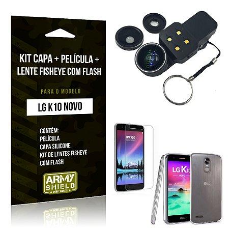 Kit LG K10 Novo Capa Silicone + Película de Vidro + Fisheye com Flash - Armyshield