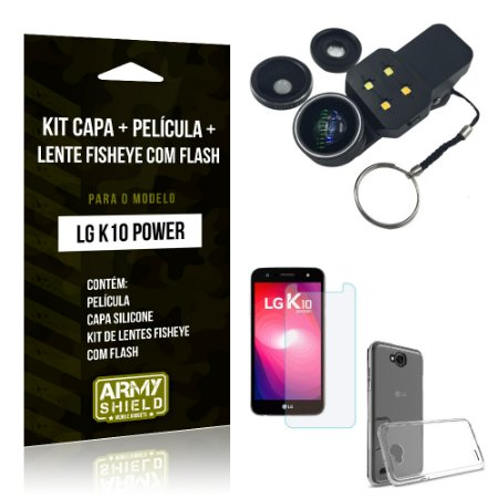 Kit LG K10 Power Capa Silicone + Película de Vidro + Fisheye com Flash - Armyshield