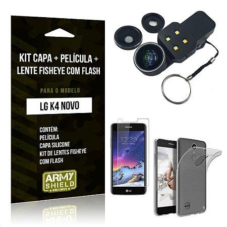 Kit LG K4 Novo Capa Silicone + Película de Vidro + Fisheye com Flash - Armyshield