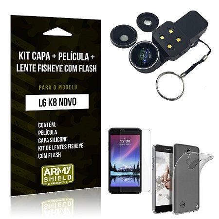 Kit LG K8 Novo Capa Silicone + Película de Vidro + Fisheye com Flash - Armyshield