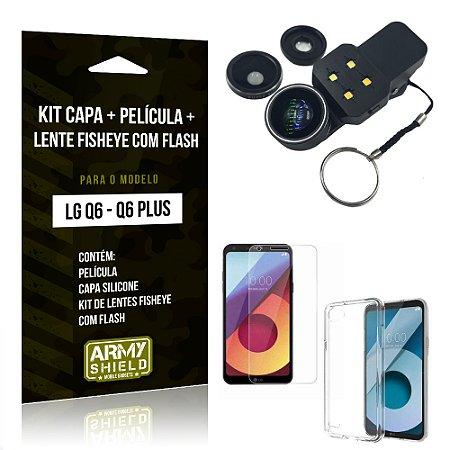 Kit LG Q6 - Q6 Plus Capa Silicone + Película de Vidro + Fisheye com Flash - Armyshield