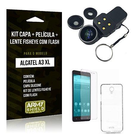 Kit Alcatel A3 XL Capa Silicone + Película de Vidro + Fisheye com Flash - Armyshield