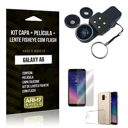 Kit Galaxy A6 Capa Silicone + Película de Vidro + Fisheye com Flash - Armyshield