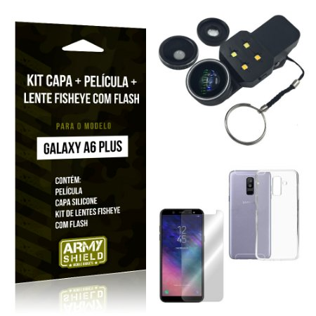 Kit Galaxy A6 Plus Capa Silicone + Película de Vidro + Fisheye com Flash - Armyshield