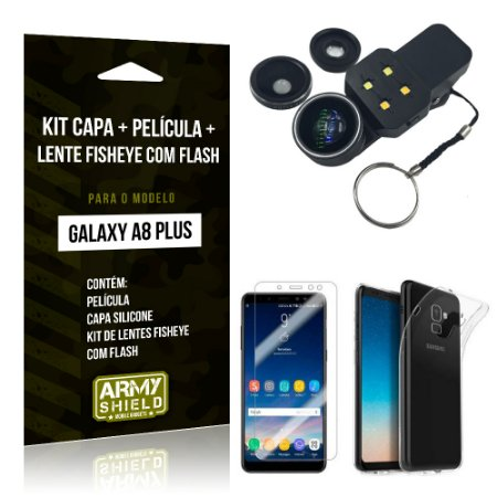 Kit Galaxy A8 Plus Capa Silicone + Película de Vidro + Fisheye com Flash - Armyshield