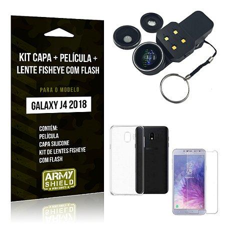 Kit Galaxy J4 (2018) Capa Silicone + Película de Vidro + Fisheye com Flash - Armyshield