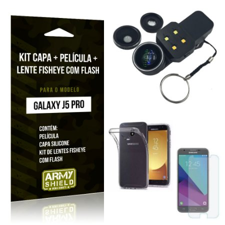 Kit Galaxy J5 Pro 2017 Capa Silicone + Película de Vidro + Fisheye com Flash - Armyshield
