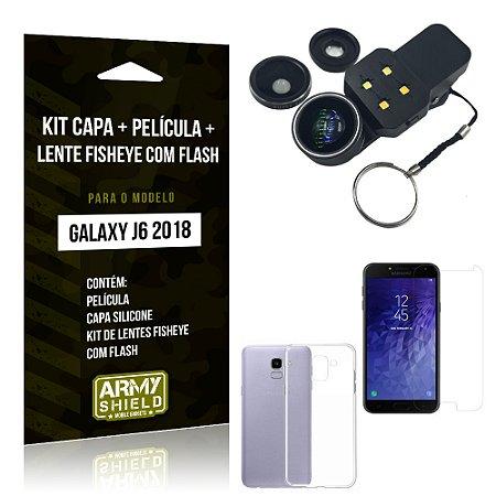 Kit Galaxy J6 (2018) Capa Silicone + Película de Vidro + Fisheye com Flash - Armyshield