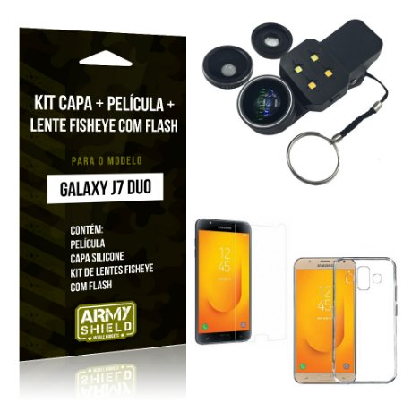 Kit Galaxy J7 Duo (2018) Capa Silicone + Película de Vidro + Fisheye com Flash - Armyshield