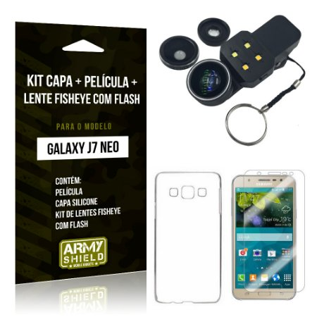 Kit Galaxy J7 Neo (2017) Capa Silicone + Película de Vidro + Fisheye com Flash - Armyshield