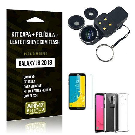 Kit Galaxy J8 (2018) Capa Silicone + Película de Vidro + Fisheye com Flash - Armyshield