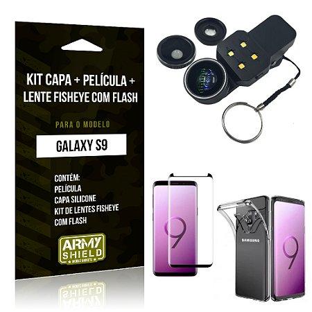 Kit Galaxy S9 Capa Silicone + Película de Vidro + Fisheye com Flash - Armyshield