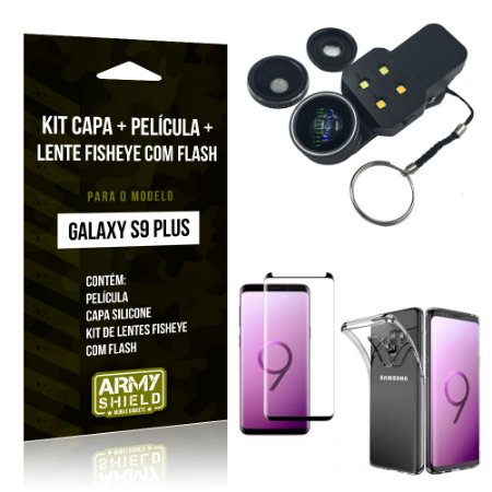 Kit Galaxy S9 Plus Capa Silicone + Película de Vidro + Fisheye com Flash - Armyshield