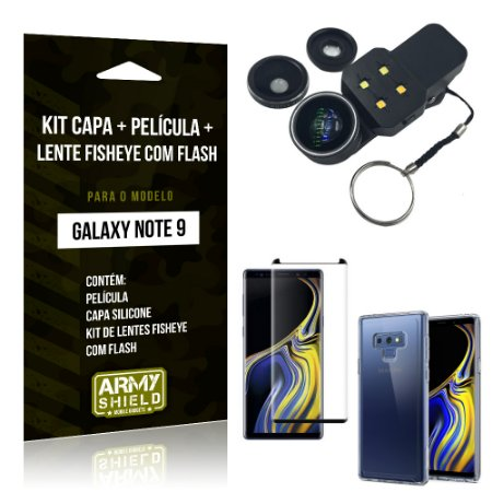 Kit Galaxy Note 9 Capa Silicone + Película de Vidro + Fisheye com Flash - Armyshield
