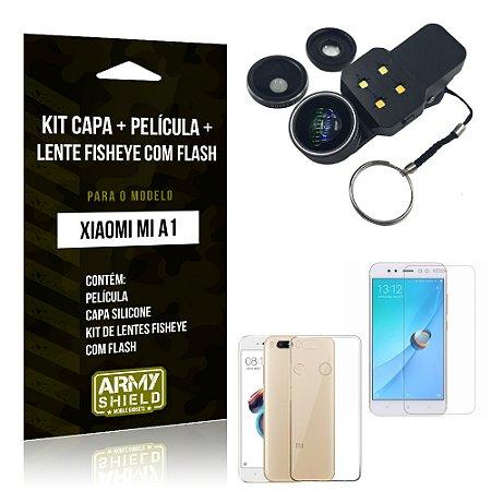 Kit Xiaomi Mi A1 Capa Silicone + Película de Vidro + Fisheye com Flash - Armyshield