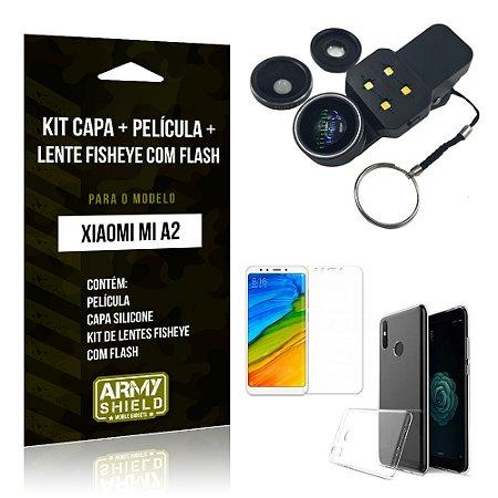 Kit Xiaomi Mi A2 Capa Silicone + Película de Vidro + Fisheye com Flash - Armyshield