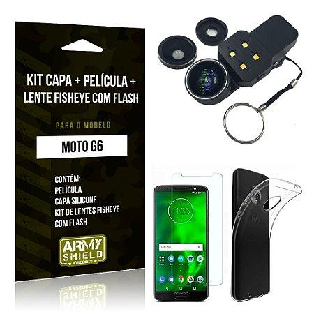 Kit Moto G6 Capa Silicone + Película de Vidro + Fisheye com Flash - Armyshield