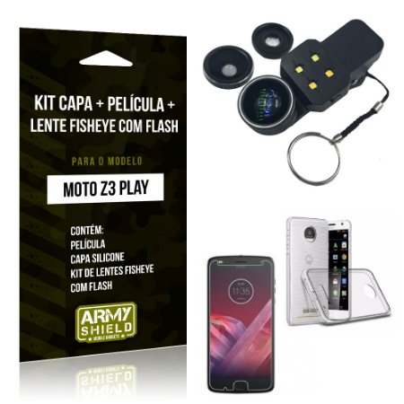 Kit Moto Z 3 Play Capa Silicone + Película de Vidro + Fisheye com Flash - Armyshield