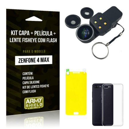 Kit Zenfone 4 Max - 5.5' ZC554KL Capa Silicone + Película Gel + Fisheye com Flash - Armyshield