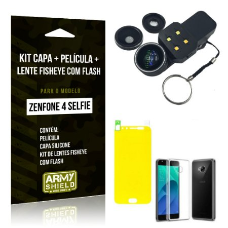 Kit Zenfone 4 Selfie - 5.5' ZD553KL Capa Silicone + Película Gel + Fisheye com Flash - Armyshield